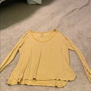 Yellow and white striped long sleeve tee
